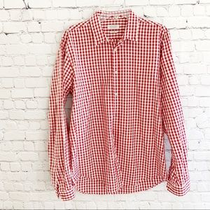 ZARA MAN Slim Fit Red White Gingham Plaid Shirt XL